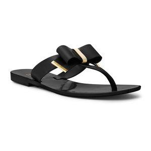 Michael Kors Black & Gold Jelly Thongs *like new*